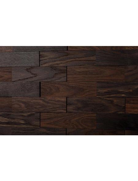 WODEWA Wandverkleidung, dunkelbraun, Holz, Stärke: 6 mm, mit Echtholzriemchen in 3D-Optik