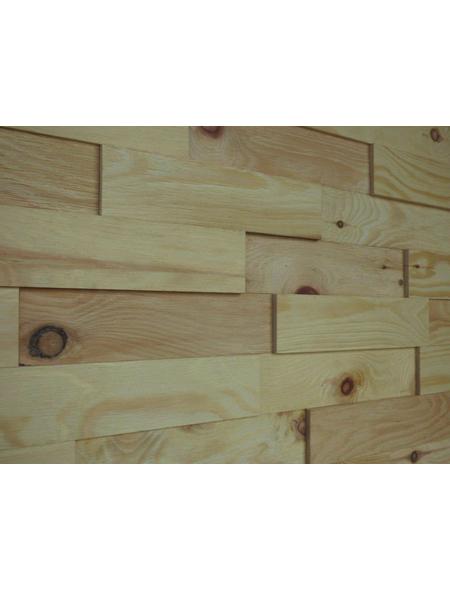WODEWA Wandverkleidung, gelb, Holz, Stärke: 6 mm, mit Echtholzriemchen in 3D-Optik