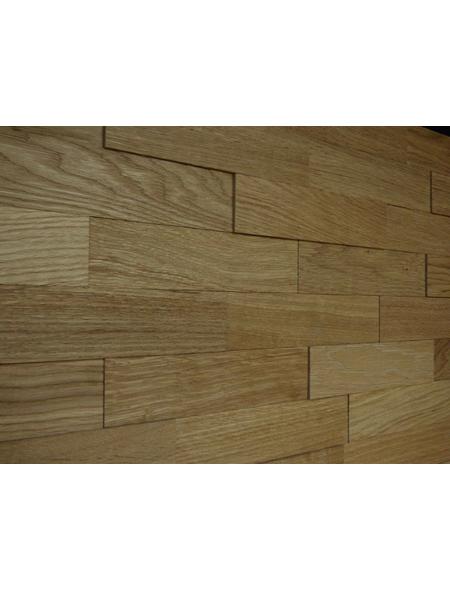 WODEWA Wandverkleidung, hellbraun, Holz, Stärke: 6 mm, mit Echtholzriemchen in 3D-Optik