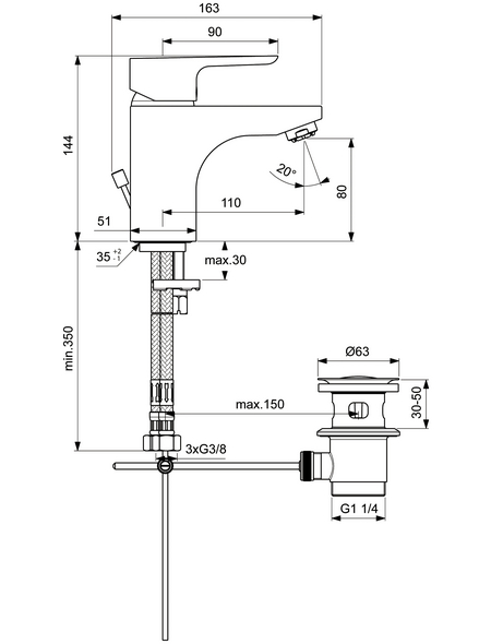 """IDEAL STANDARD Waschtischarmatur »CeraPlan III«, Messing verchromt, 1 1/4"""", inkl. Ablaufgarnitur"""
