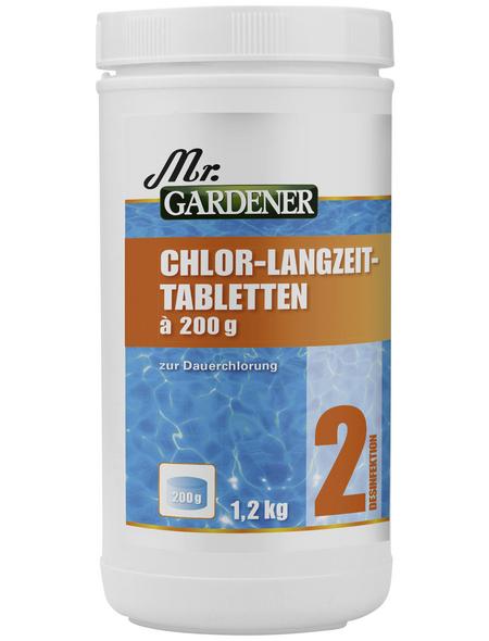 MR. GARDENER Wasserpflege, 1,2 kg Chlor - Langzeit Tabletten , für Pools