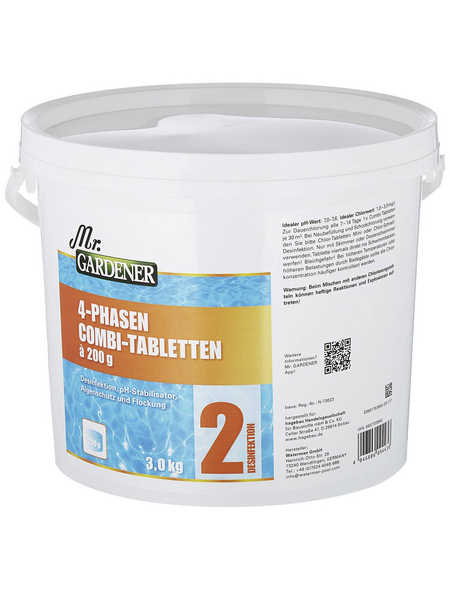 MR. GARDENER Wasserpflege, 3 kg 4 Phasen Combi Tabletten , für Pools