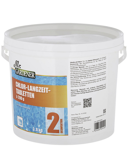 MR. GARDENER Wasserpflege, 3 kg Chlor-Tablette Langzeit, für Pools