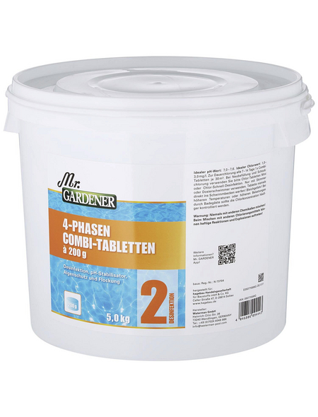 MR. GARDENER Wasserpflege, 5 kg 4 Phasen Combi Tabletten, für Pools