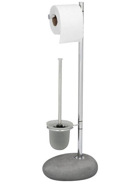 WENKO WC-Bürsten & WC-Garnituren »Pebble«, Höhe: 70 cm, grau/chromfarben