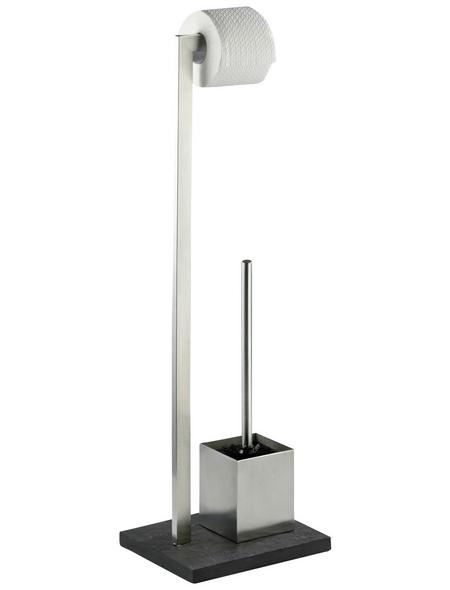 WENKO WC-Bürsten & WC-Garnituren »Slate Rock«, Höhe: 73,5 cm, anthrazit/silberfarben