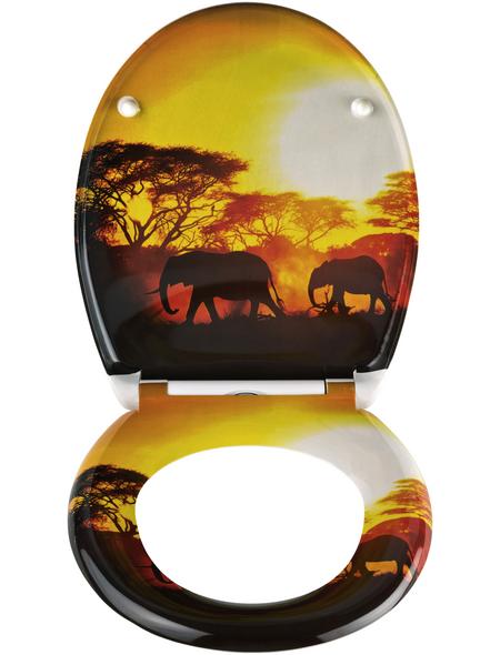 SCHÜTTE WC-Sitz »Africa«, Duroplast,  schwarz/gelb,  oval