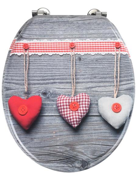 WENKO WC-Sitz »Bavarian Hearts«, MDF, oval