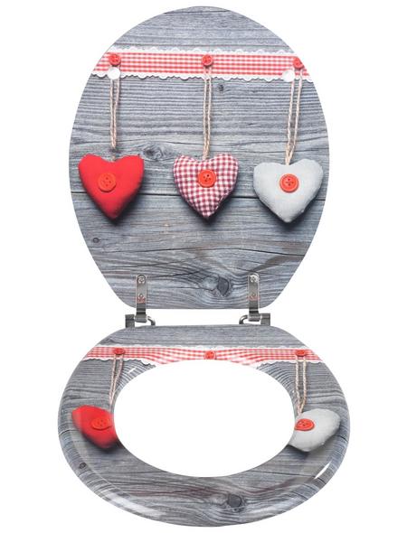 WENKO WC-Sitz »Bavarian Hearts« mit Holzkern,  oval