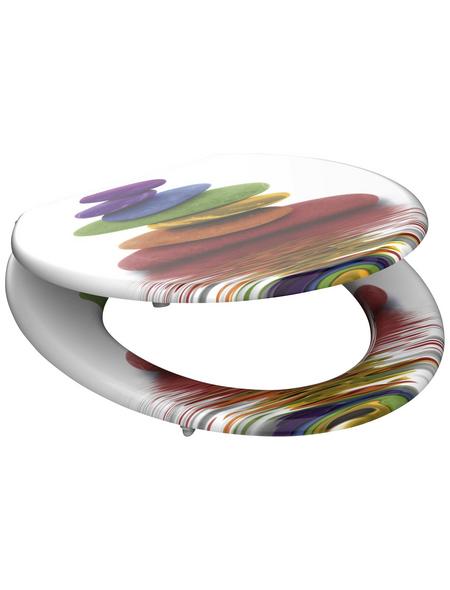 SCHÜTTE WC-Sitz »Colorful Stones«, Mitteldichte Faserplatte (MDF),  weiss/bunt,  oval