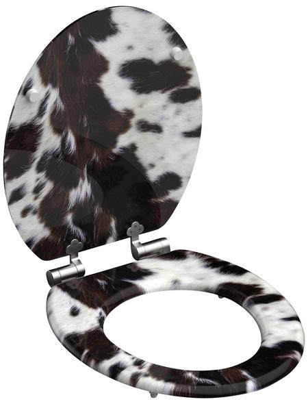 SCHÜTTE WC-Sitz »Cow skin«, Mitteldichte Faserplatte (MDF),  weiss/braun,  oval