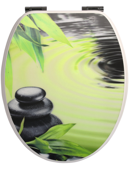 SANITOP-WINGENROTH WC-Sitz »Dekor 3-D«, mit Holzkern, oval, mit Softclose-Funktion