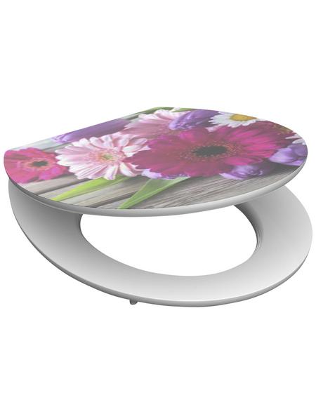 SCHÜTTE WC-Sitz »Flowers«, Mitteldichte Faserplatte (MDF),  rosa/pink,  oval