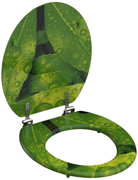 SCHÜTTE WC-Sitz »Green Leafs«, Mitteldichte Faserplatte (MDF),  gelb/gruen,  oval