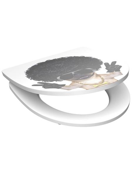 SCHÜTTE WC-Sitz »Macho Dog«, Duroplast,  weiss/schwarz/beige,  oval