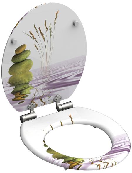SCHÜTTE WC-Sitz Mitteldichte Faserplatte (MDF),  weiss/gruen/rosa,  oval