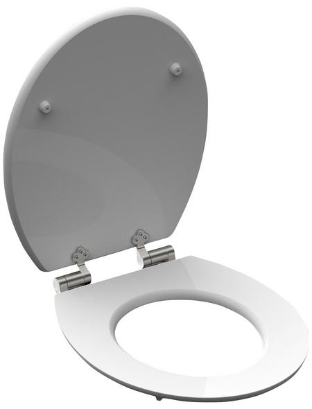 SCHÜTTE WC-Sitz »Oasis«, Mitteldichte Faserplatte (MDF),  grau/weiss/gruen,  oval