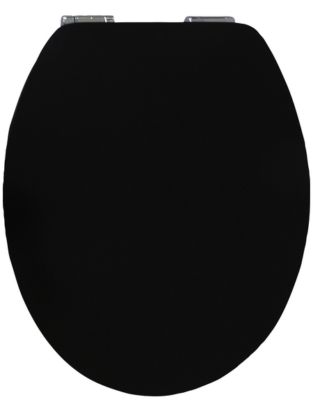 SANITOP-WINGENROTH WC-Sitz »Pure Black High Gloss«, mit Holzkern, oval, mit Softclose-Funktion