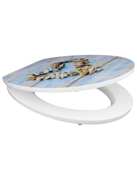 SCHÜTTE WC-Sitz »Shell Heart«, Mitteldichte Faserplatte (MDF),  blau/beige,  oval
