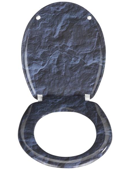 WENKO WC-Sitz »Slate Rock« aus Duroplast,  oval mit Softclose-Funktion