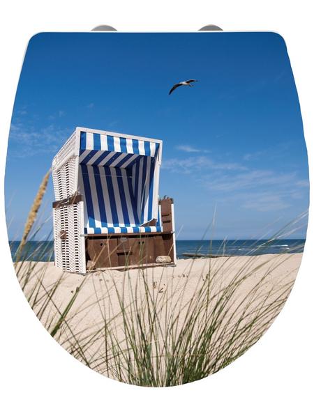 WENKO WC-Sitz »Strandkorb«, Duroplast, oval, mit Softclose-Funktion