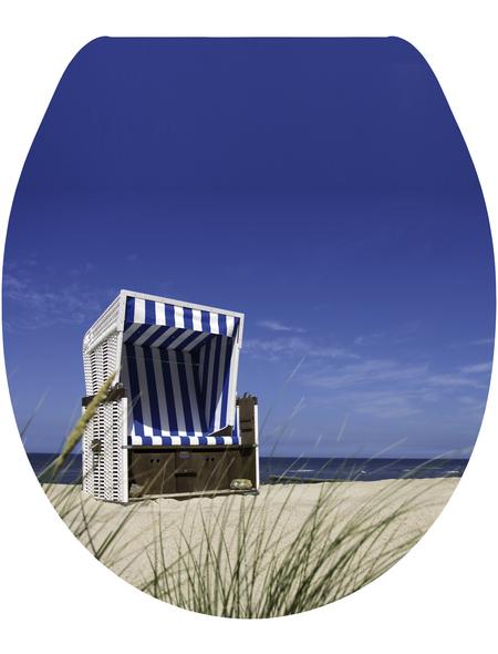 SANITOP-WINGENROTH WC-Sitz »Strandkorb«, mit Holzkern, oval, mit Softclose-Funktion