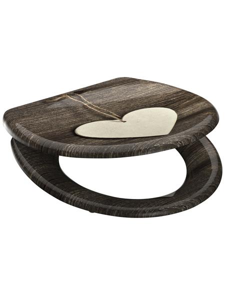 SCHÜTTE WC-Sitz »Wood Heart«, Duroplast, oval, mit Softclose-Funktion