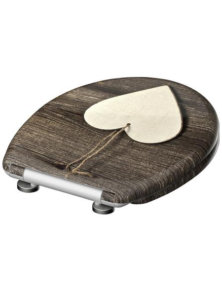 SCHÜTTE WC-Sitz »Wood Heart«, Duroplast,  weiss/braun,  oval