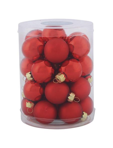 CASAYA Weihnachtskugel, Ø: 3 cm, rot, 28 Stück