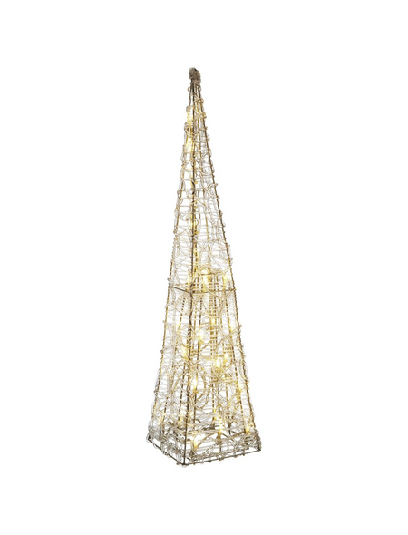 CASAYA Weihnachtspyramide LED Acryl, 60 cm, 30 Lichter, warmweiss, eckig