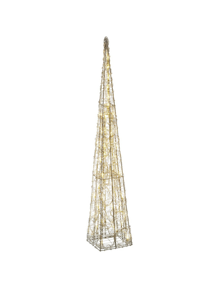 CASAYA Weihnachtspyramide LED Acryl, 90 cm, 50 Lichter, warmweiss, eckig