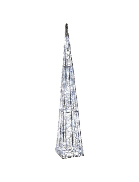 CASAYA Weihnachtspyramide LED Acryl, außen, 90 cm, 50 Lichter, kaltweiss