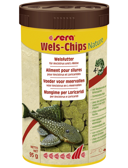 sera Wels-und Schmerlenfutter »Wels-Chips Nature«, Aqua, 250 ml (95g )
