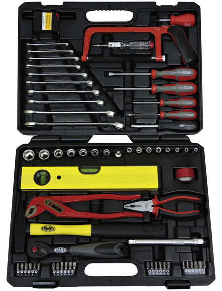 FAMEX Werkzeugkoffer »FAMEX 145-FX-48«, Kunststoff, bestückt, 130-teilig