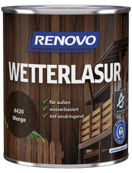 RENOVO Wetterlasur, für außen, 0,75 l, braun, seidenglänzend