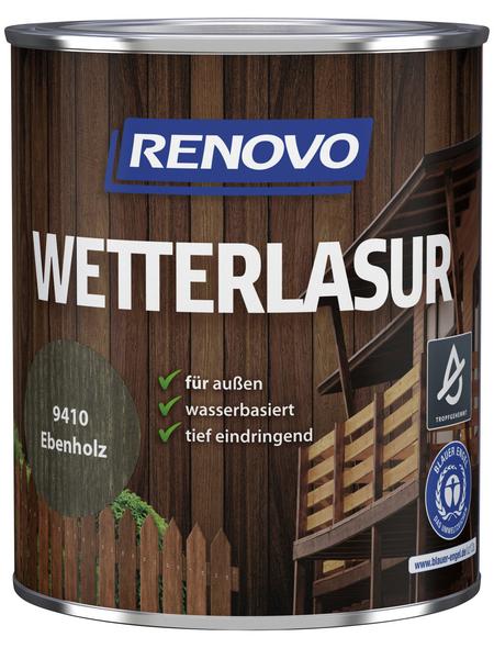 RENOVO Wetterlasur, für außen, 0,75 l, Ebenholz, seidenglänzend