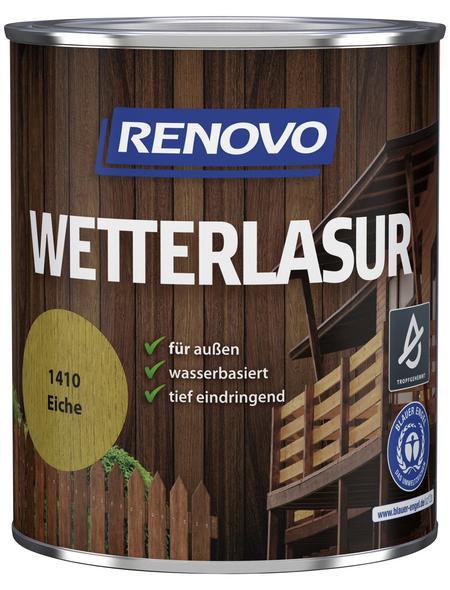 RENOVO Wetterlasur, für außen, 0,75 l, Eiche, seidenglänzend