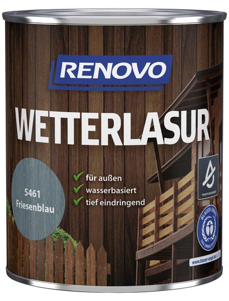 RENOVO Wetterlasur, für außen, 0,75 l, Friesenblau, seidenglänzend