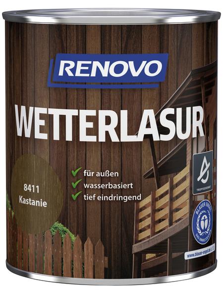 RENOVO Wetterlasur, für außen, 0,75 l, Kastanie, seidenglänzend