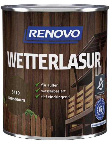 RENOVO Wetterlasur, für außen, 0,75 l, Nussbaum, seidenglänzend