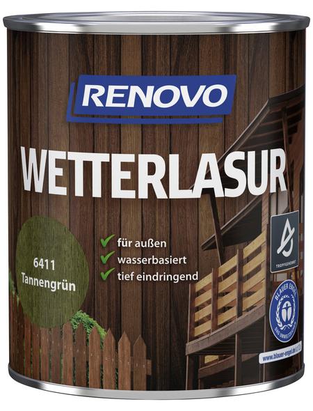RENOVO Wetterlasur, für außen, 0,75 l, tannengrün, seidenglänzend