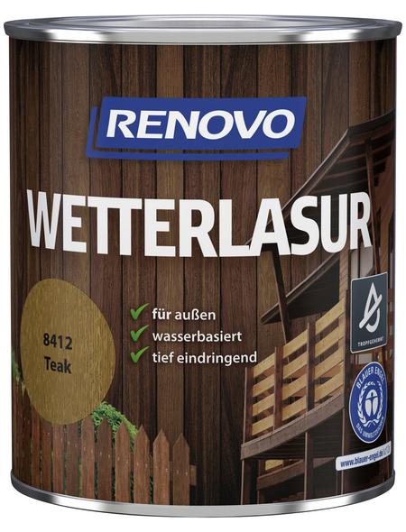 RENOVO Wetterlasur, für außen, 0,75 l, Teak, seidenglänzend