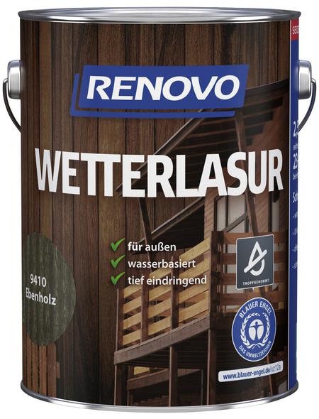 RENOVO Wetterlasur, für außen, 2,5 l, Ebenholz, seidenglänzend
