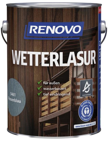 RENOVO Wetterlasur, für außen, 2,5 l, Friesenblau, seidenglänzend