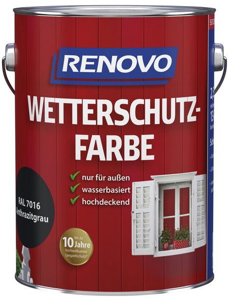 RENOVO Wetterschutzfarbe, für außen, 2,5 l, anthrazitgrau, seidenglänzend