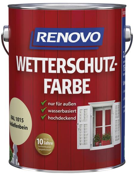 RENOVO Wetterschutzfarbe für außen, 2,5 l, Hellelfenbein, seidenglänzend