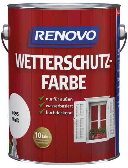RENOVO Wetterschutzfarbe, für außen, 2,5 l, weiß, seidenglänzend