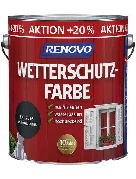 RENOVO Wetterschutzfarbe für außen, 3 l, anthrazit, seidenglänzend