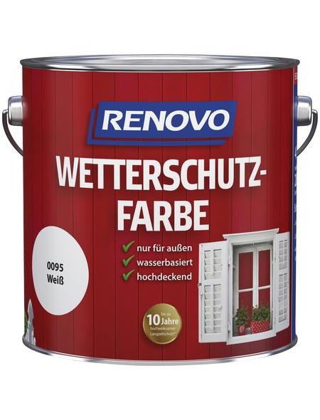 RENOVO Wetterschutzfarbe, für außen, 4 l, weiß, seidenglänzend