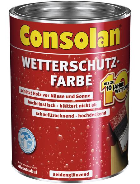 CONSOLAN Wetterschutzfarbe, rotbraun, seidenglänzend, 2,5 l
